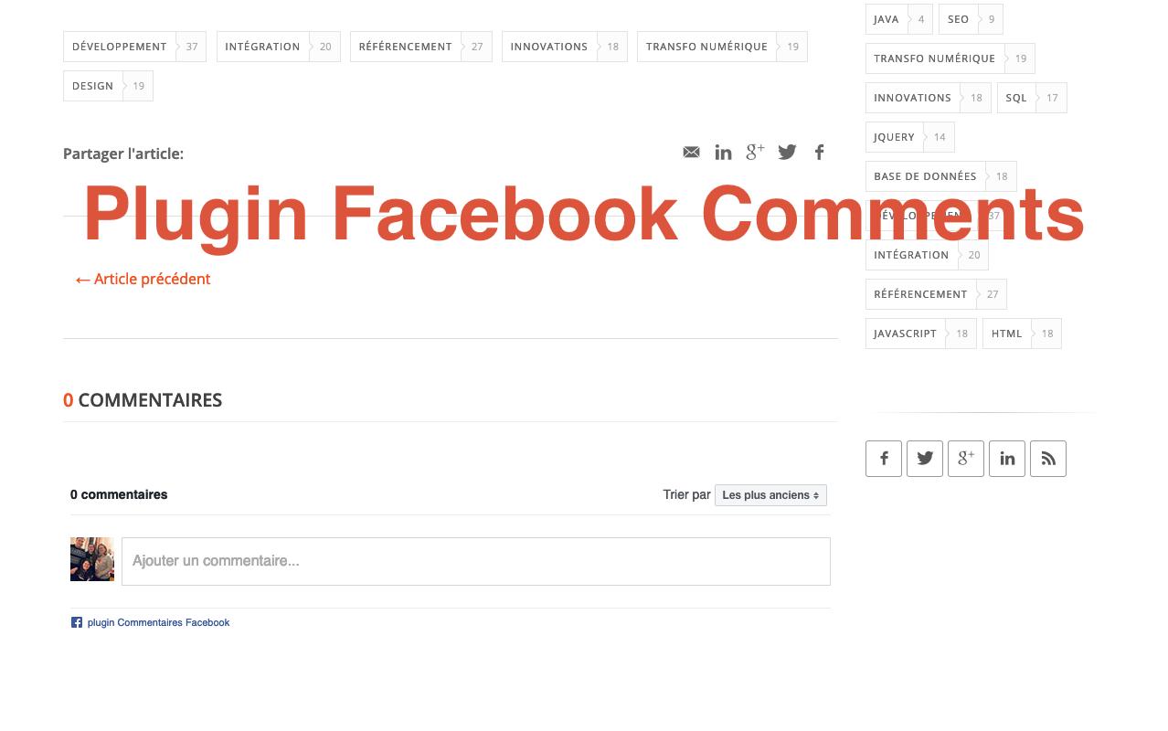 Facebook Comments sur notre site