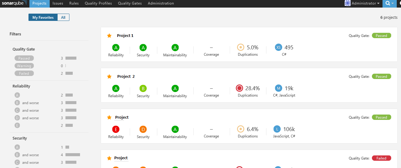 Exemple DashBoard Multi Projets