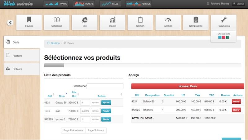 Interface de gestion de PME